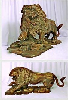 Lion carved