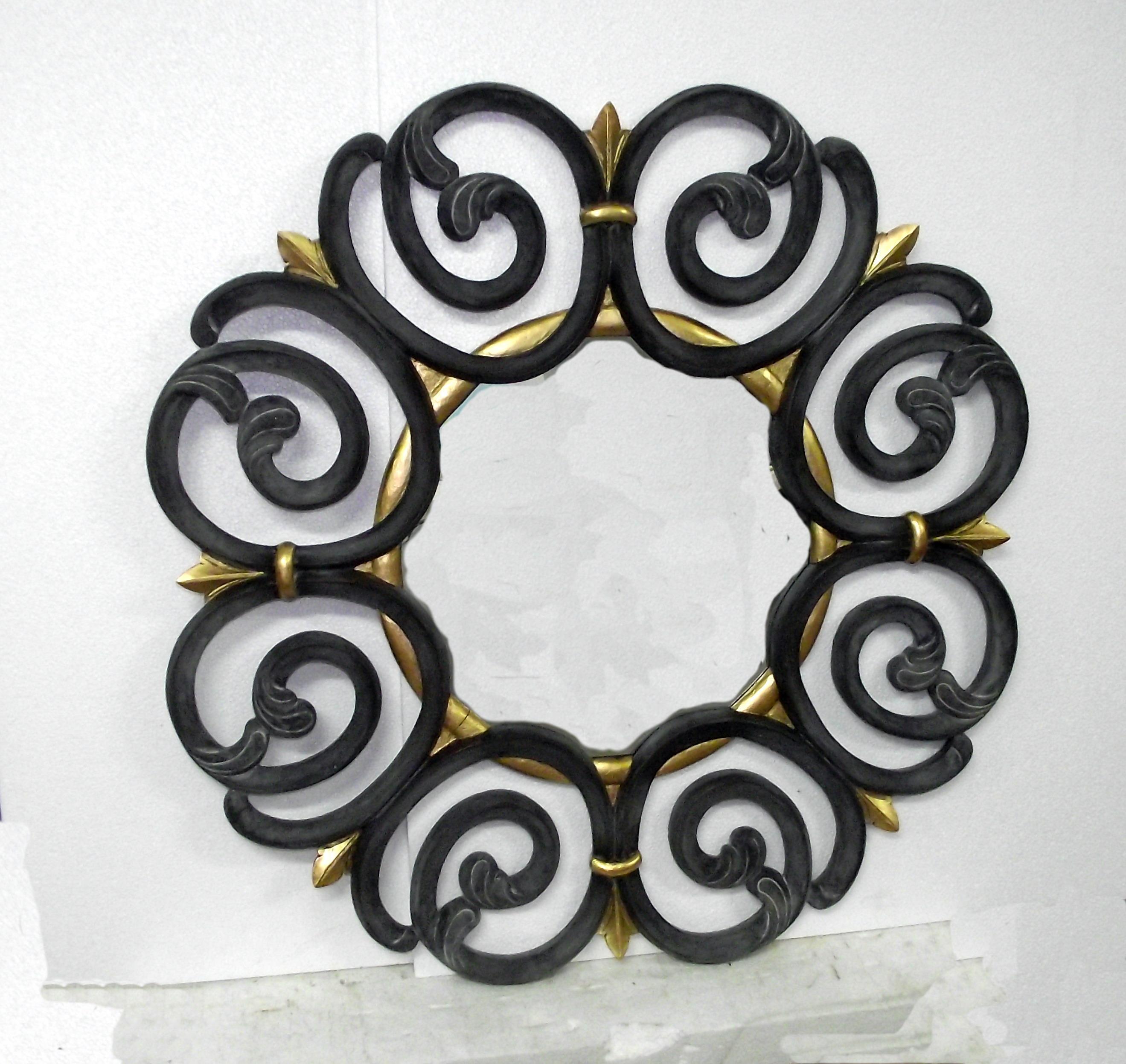 Round mirror black / gold leaf
