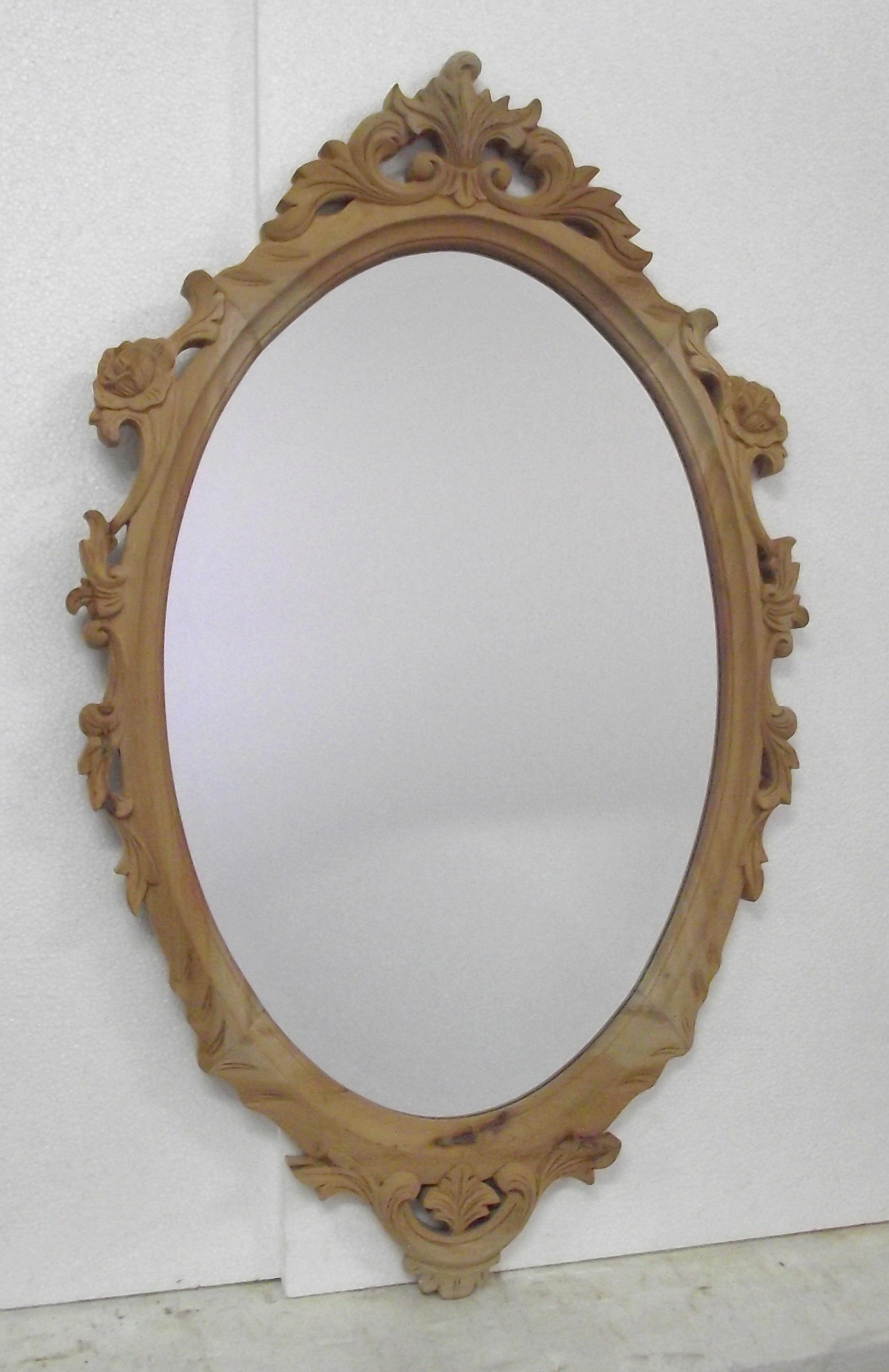 Oval mirror with roses