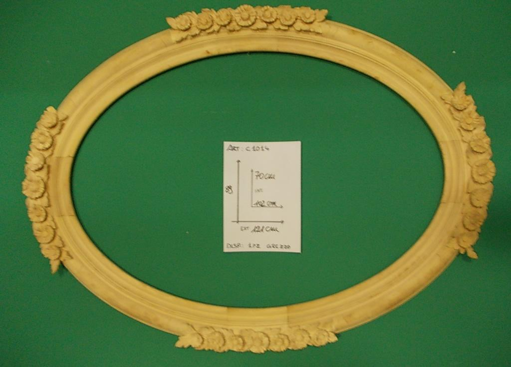 Hand carved oval frame with roses